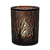 Table Tech Forest 12.5cm Glass Candle Holder, Black, Copper