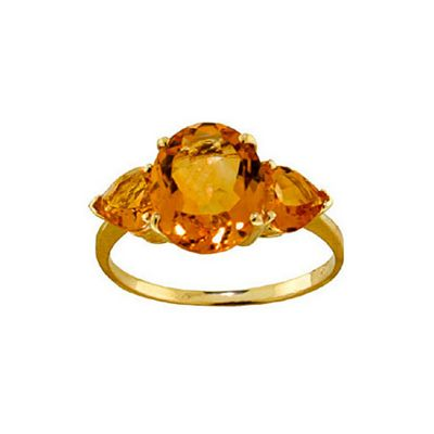 QP Jewellers 3.50ct Citrine Vogue Ring in 14K Gold - Size P