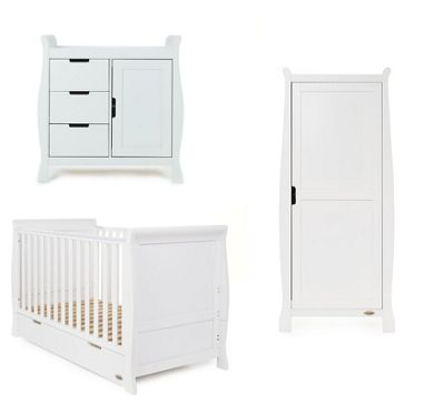 Obaby Stamford 3 Piece Single Wardrobe Nursery Room Set White