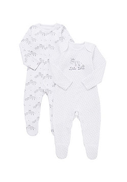 F&F 2 Pack of Zebra Print Sleepsuits - White