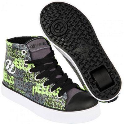 Heelys Hustle Black/Grey/Lime/Graffiti Kids Heely Shoe JNR12