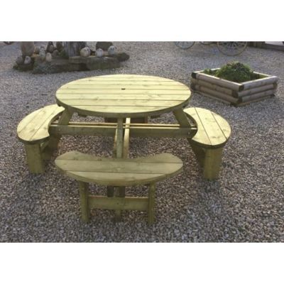 Buy Circular Seater Tanalised Round Picnic Table From Our Wooden - 8 seater round picnic table