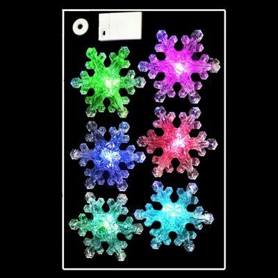 6 x 15cm Colour-Changing LED Snowflake Lights