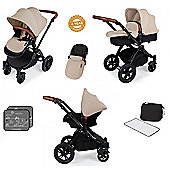 Ickle Bubba Stomp V3 AIO Travel System plus Extra Stroller Bag - Sand (Black Chassis)