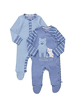 F&F 2 Pack of Bear Design Sleepsuits - Blue