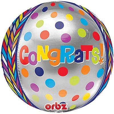 Dotty Geometric Congratulations Orbz Balloon - 25 inch Long Lasting