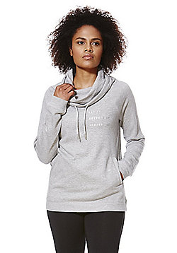 F&F Active Drawstring Funnel Neck Sweatshirt - Marl grey