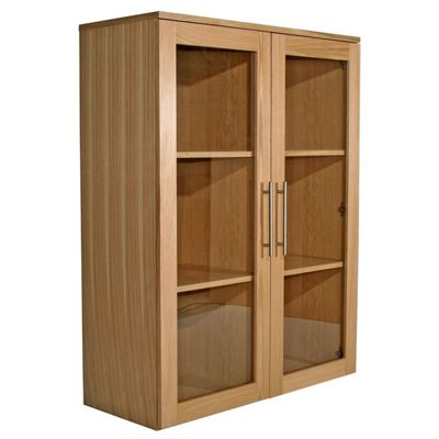 Alphason Oakwood Wide Glazed Bookcase