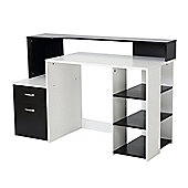 Homcom Wooden Computer Desk PC Modern Home Office Printer Shelf w/ Storage (Black and white)
