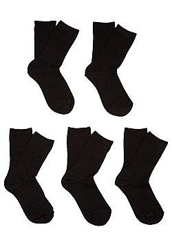F&F 5 Pair Pack of Ribbed Socks - Black