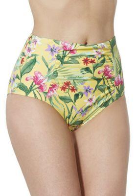 F&F Tropical Print High Waisted Bikini Briefs Yellow 8