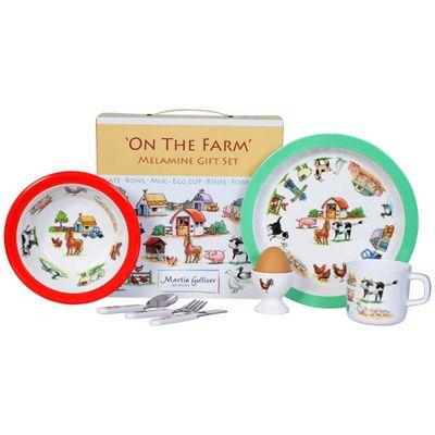 Children's Melamine Dinner Set 7 pc – On the Farm, Kids Melamine Dinner Set Farm