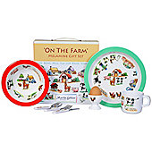 Children's Melamine Breakfast Set 7 pc – On the Farm, Kids Dinner Set Farm
