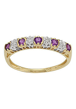 Gemondo 9ct Yellow Gold 0.20ct Amethyst & 2pt Diamond Half Eternity Band Ring