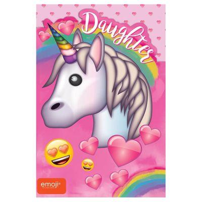 Unicorn Emoji Daughter Birthday Card - 160mm x 235mm