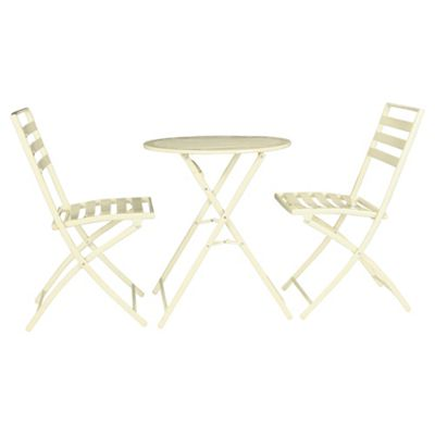 Milan Round Steel Folding Garden Bistro Set - Cream