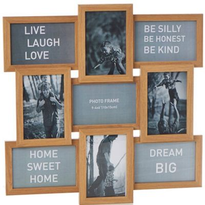 Buy Collage - Solid Wood Photo Frame - With 9 Apertures - Oak from ...