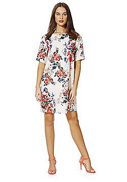 Only Floral Print Short Sleeve Dress - Beige