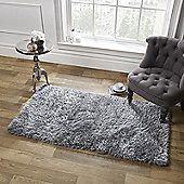 Sienna Large Shaggy Floor Rug Mat Runner 5cm Thick Pile Silver Charcoal Grey - Silver