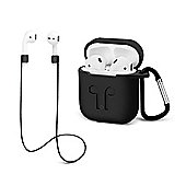 Aquarius AirPods Case with Strap Protective Silicone Cover with Carabiner for Apple Airpods Accessories - R165773 - Black