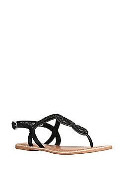 F&F Beaded Twist Toepost Sandals - Black