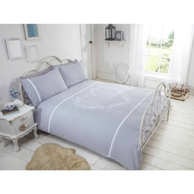Rapport Heart Grey Embroidered Duvet Cover Set - Double