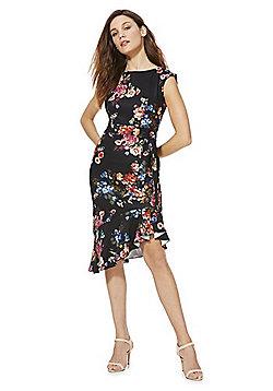 Feverfish Floral Print Side Tie Dress - Black multi