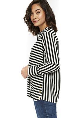 Wallis Collarless Striped Shirt Black 8