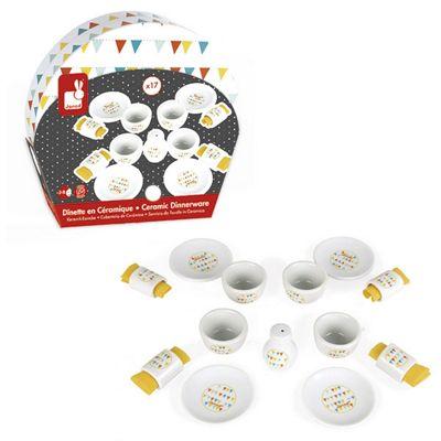 Janod Toy Happy Day Ceramic Picnic Set Dinnerware 17 piece