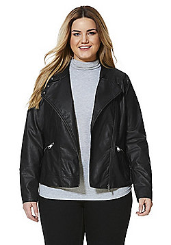 Junarose Faux Leather Biker Plus Size Jacket - Black