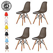 Set of 4 Modern Design Chair Eames Style Dining Chairs (Grey) Lia
