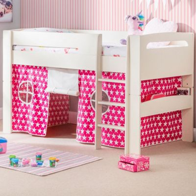Happy Beds Pluto Wood Kids Midsleeper Bed with Starry Pink Tent - White and Pink - 3ft Single