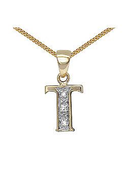 Jewelco London 9 Carat Yellow Gold Elegant Diamond-Set Pendant on an 18 inch Pendant Chain Necklace - Inital T