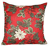 Christmas Red Poinsettia Cushion - 46x46cm