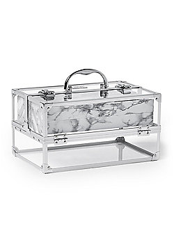 Beautify Professional Large Lockable Acrylic Beauty Case with Chrome Frame & Marble Effect Interior