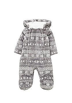 F&F Fair Isle Print Fleece Pramsuit - Grey