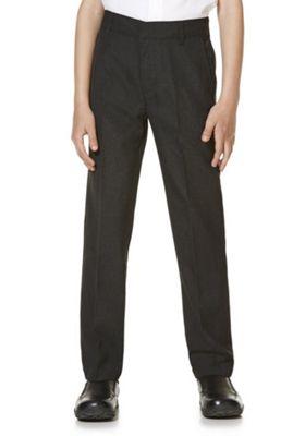 "F&F School 2 Pack of Boys Teflon EcoElite""™ Flat Front Slim Leg Longer Length Trousers 4-5 years Grey"
