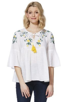 F&F Meadow Embroidered Smock Top White 14