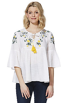 F&F Meadow Embroidered Smock Top - White
