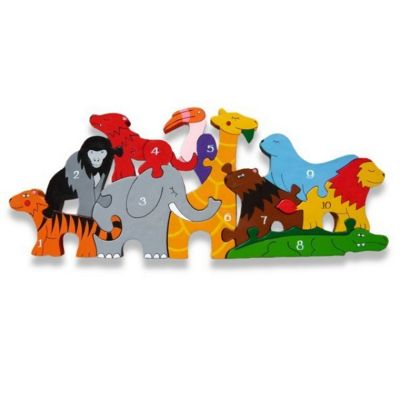 Handmade in Ireland Traditional Wooden Puzzle: Number Zoo