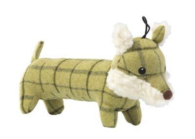 Green Long Body Tweed Fox Dog Toy