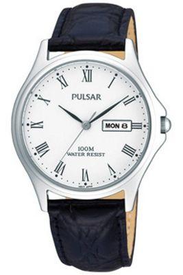 Pulsar Gents Black Leather Strap Watch PXF293X1