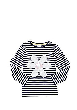 F&F Striped Sequin Daisy Long Sleeve T-Shirt - Navy & White