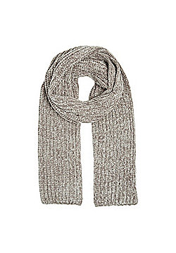 F&F Chenille Knitted Scarf - Grey