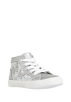 F&F Glitter High Top Trainers - Silver