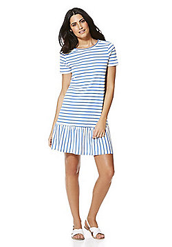 Only Striped Short Sleeve Jersey Dress - White