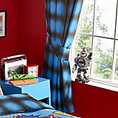 Blue and Black Circle Print Curtains 54s