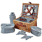 Andrew James 4 Person Traditional Picnic Hamper in Blue Check