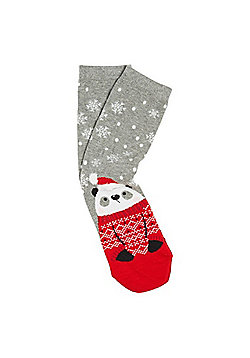 F&F Panda Christmas Ankle Socks - Grey