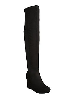 F&F Sensitive Sole Faux Suede Wedge Over the Knee Boots - Black